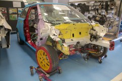 A post-Crash Test MG3 prototype in the Vehicle Engineering Workshop