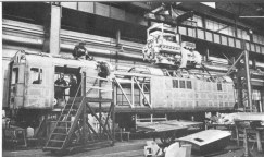 The prototype HST power car under construction at Crewe receives its 2500bhp Paxman Valenta engine in 1972