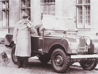 Winston Churchill and his Land Rover