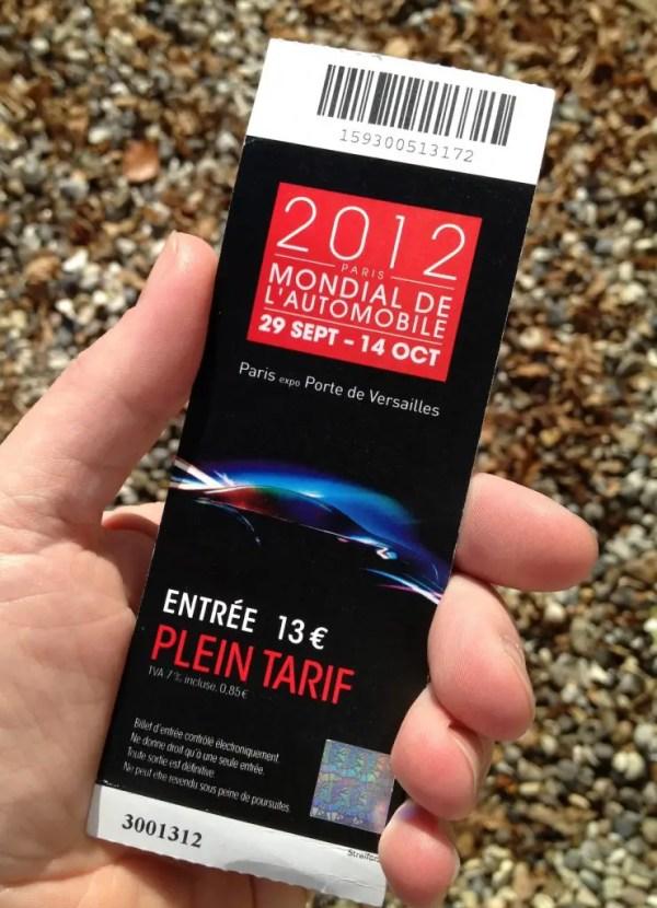 Paris motor show tickets