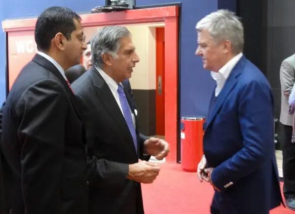 Ratan Tata and Charles Morgan talk cars at Geneva...