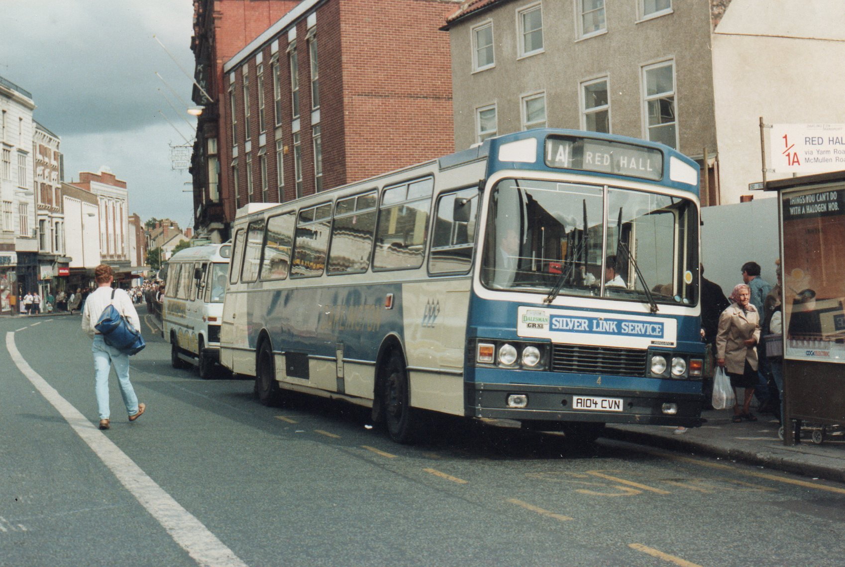 Ward no:4 A104 CVN plies its trade in Darlington HIgh Row 1986