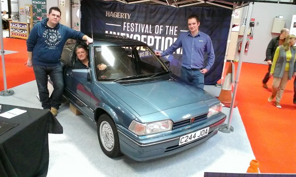 Owner John Corbett - left of picture stands with Ian Arthur from Hegarty Insurance - Denis was quite happy to stay seated behind the wheel of the sole surviving Mk1 216 Vitesse.