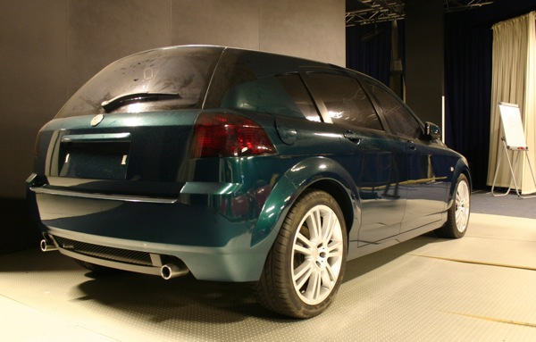 Rear three-quarter view shows proposed rear window line - a theme prevalent on many cars of today