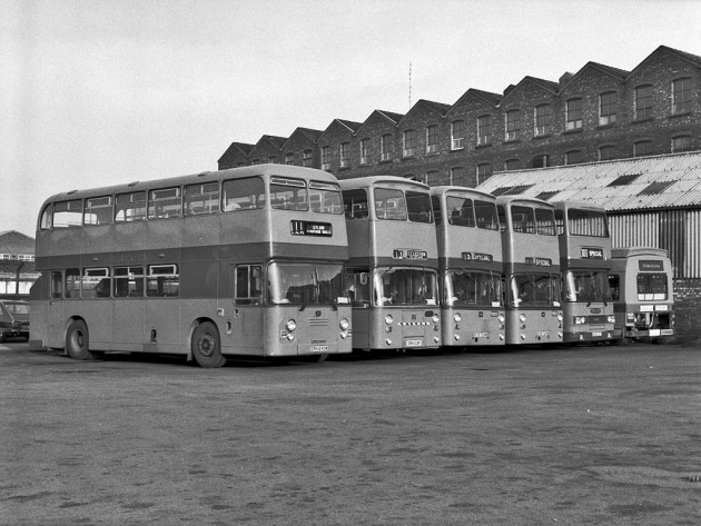 This 1983 image of the Golden Hill Lane depot shows the over the wall view of the huge Leyland Bus chassis works in the background.