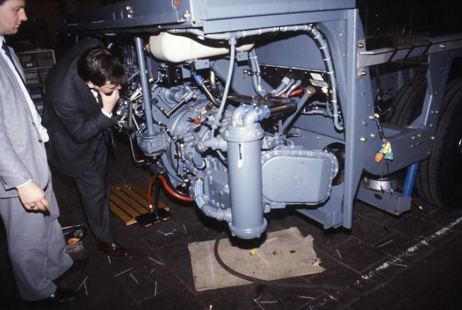 Management at Leyland inspect the first Olympian chassis fitted with a ZF automatic gearbox.