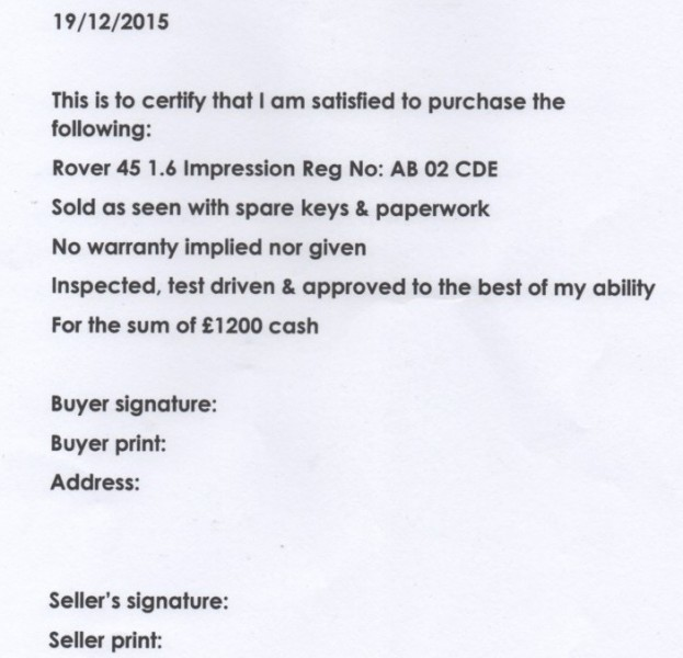 The all important receipt of sale. Omit to writing or printing one of these and a problem punter will be all over you like a rash!