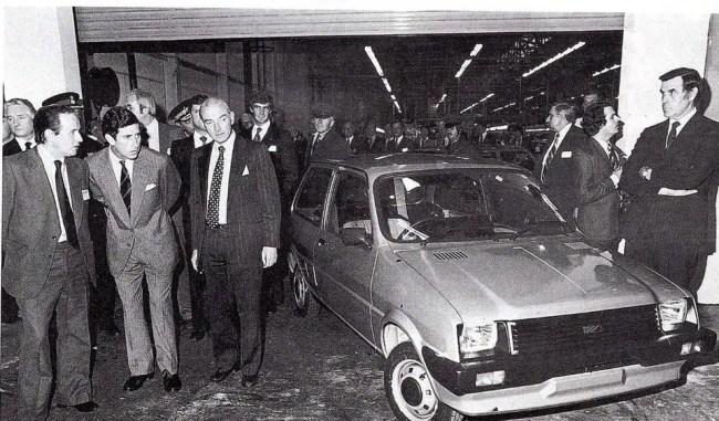 BMC/BL/Rover timeline - 1952-2005 - Harold Musgrove demonstrates the Austin Metro to Prince Charles, Longbridge 1980