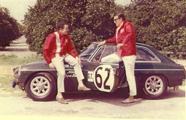 Paddy Hopkirk and Andrew Hedges with 67/68 Sebring/Targa Florino spec MG B