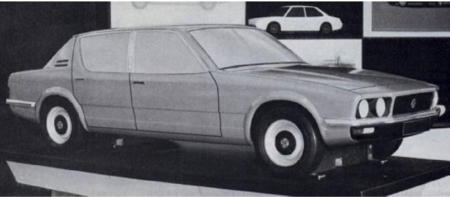 Triumph Puma clay model, which for many years was misidentified as a proposal for Rover by Michelotti. (Picture: The Rover SD1 story, by James Taylor).