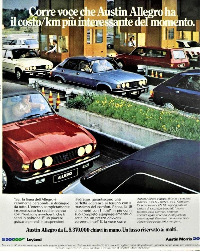The Italian Allegro 3 range for 1981 included a 1000HLS which allied the base 998cc A+ engine to the top level of trim. As mentioned in text of advert.