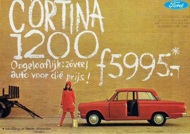 'Incredible: So much car for the price!' The Ford Cortina (Mk1 and Mk2) sold well in EEC markets, but the need to absorb tariffs ensured there was little profit involved, as pricing had to remain competitive. Continental assembly helped a bit: This Dutch Cortina would have been assembled from a CKD kit at Ford's Amsterdam plant.