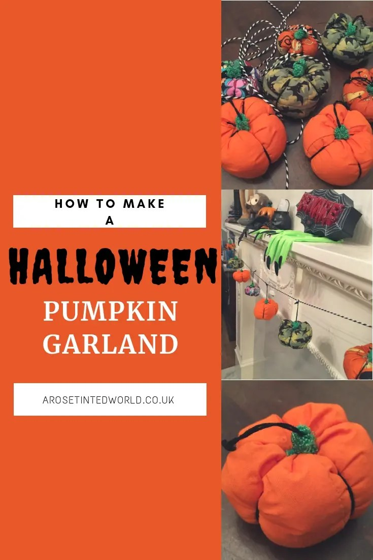 Make your own Halloween Pumpkin garland decoration using up all the fabric scraps in your scrap bag. Zero waste way- use waste fabric and up cycling old cloth to make other things #zerowaste #recycled #upcycled #fabricscraps #pumpkin #pumpkingarland  #halloween  #halloweendecorations #halloweencrafts #halloweenideas #halloweendiy