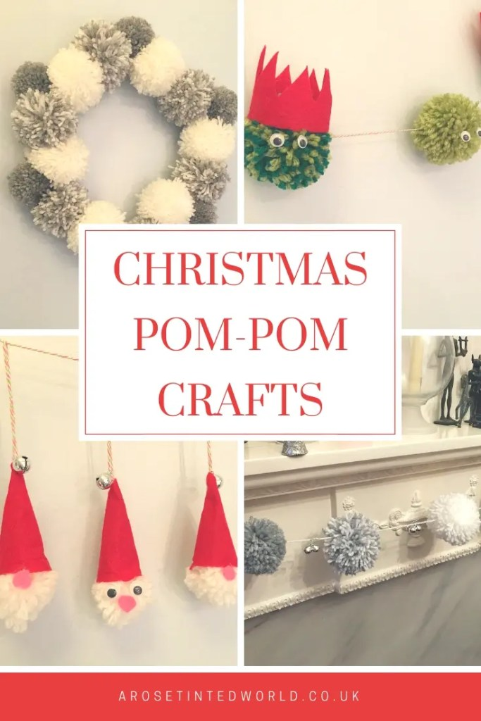 Christmas Pom-Pom Crafts - make these pretty and simple Christmas decorations #pompomcrafts #pompomwreath #pompom #pompommaker #christmasdecor #christmasdecorations #christmascrafts #christmasdiy #christmas #pompomgarland #garland