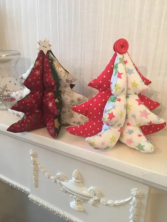 Padded Fabric Christmas Trees - duo
