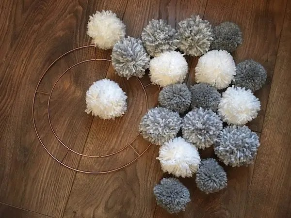Christmas Pom-pom Crafts - wreath ring and mixed pom-poms