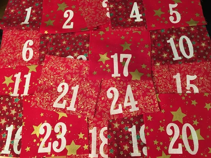 Advent Calendar Treat Bags - set of numbered pieces of fabric