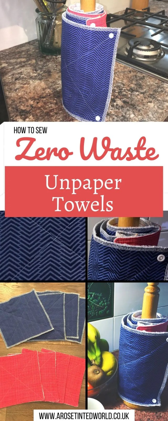 How To Make Reusable kitchen roll or unpaper towels - a great alternative to paper towels. A great zero waste, frugal and sustainable kitchen swap. Upcycle old clothes, towels and cloth to make these cloths that can be laundered with the rest of your wash. DIY tutorial with pictures. Pictorial guide to making these sustainable recycled . Environmentally friendly #unpapertowels #kitchentowels #upcycling #sustainable #zerowaste