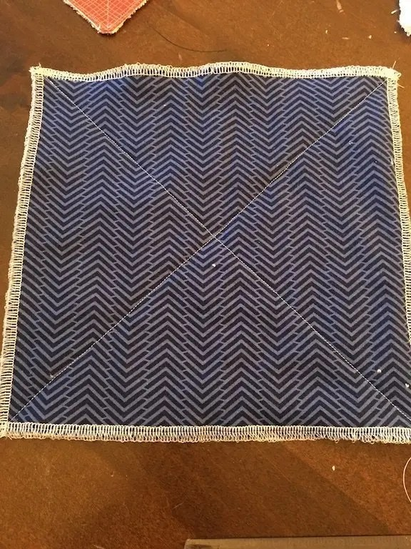 reusable kitchen roll - diagonals sewn method 1