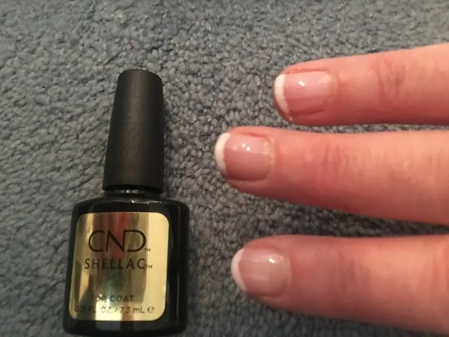 Doing My Own Shellac Manicure - top coat