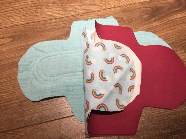Reusable Sanitary Pads - sewing to backing