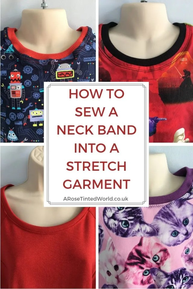 How To Sew A Neck Band Into A Stretch Garment - Great sewing hints tips hacks and ideas - my neck lines used to be the most disastrous part of my garment. They were uneven, baggy and didn't lay flat. Until I learnt this great sewing method for sewing them evenly. Find out more. #sewingtips #stretchfabric #stretchneckline #knitneckline #stretchneckband #knitneckband #tshirtneckline #sewing