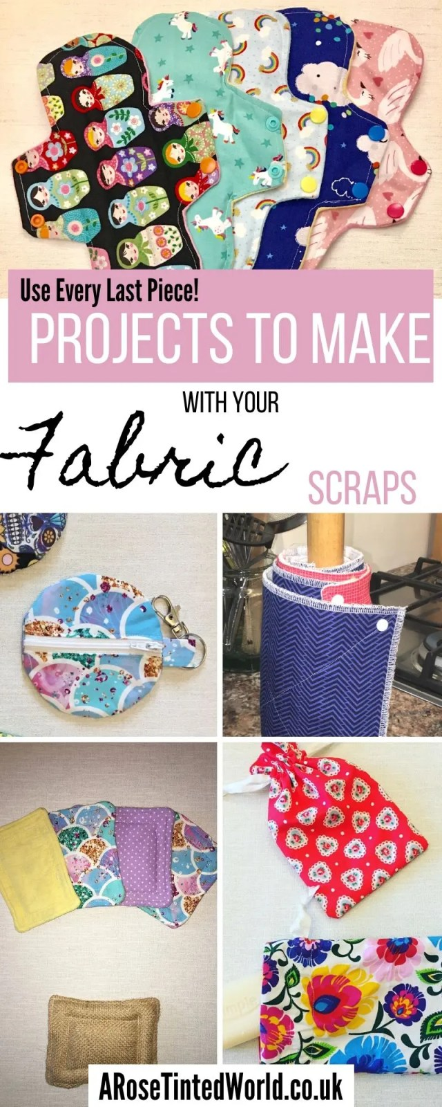 What can I make from Fabric scraps? How to use up all the small remnants of cloth in your scrap bag. Zero waste ways to make great gifts- using up waste fabric and up cycling old cloth to make other things #zerowaste #recycled #upcycled #fabricscraps #scrunchies #giftideas