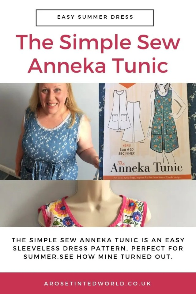 The Simple Sew Zoe Anneka Tunic pattern. What I thought of the pattern and how I made it. Wearable toile. The sleeveless dress has pockets. Why not sew your own. Perfect beginner's dress pattern for novice sewers. Easy sewing project for dress makers. #sewing #sewingtips #easysewingpattern #novicesewing #easydresspattern #beginnerssewingpattern #simplesew