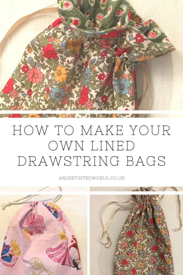 How To Make A Lined Drawstring Bag - here are two methods of making a drawstring bag. Ideal for a fabric gift or present bag. Useful for zero waste birthday and Christmas gifts but also for making school shoe bags, laundry bags and millions of other uses. Easy step by step pictorial sewing tutorial. #bagmaking #giftbag #giftwrapping #giftwrappingideas #sustainablewrapping #sustainableliving #wrapped #wrapping #christmasgift #sewingtutorial #sewingprojects #sewinggifts