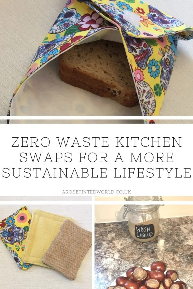 Zero Waste Kitchen Swaps - here are some great ideas for some easy kitchen swaps that you can make on your journey to a more sustainable and ecofriendly lifestyle. #zerowaste #kitchenswaps #zerowasteliving #zerowastelifestyle #zerowastekitchen #unsponges #reusablekitchenroll #sandwichwraps #ecofriendlykitchen #sustainableliving #sustainability #plasticfree #environmentallyfriendly