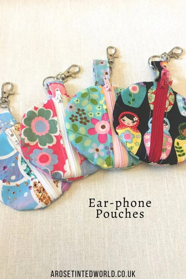Earphone pouches -Sewing Projects That You Can Sell - make money from what you sew with these ideas for brilliant & sellable DIY items. Links to Full step by step tutorials for each. #sewing #sewingtosell #sewingprojects #sellinghandmade #craftfairs #craftfairideas #sewingcrafts