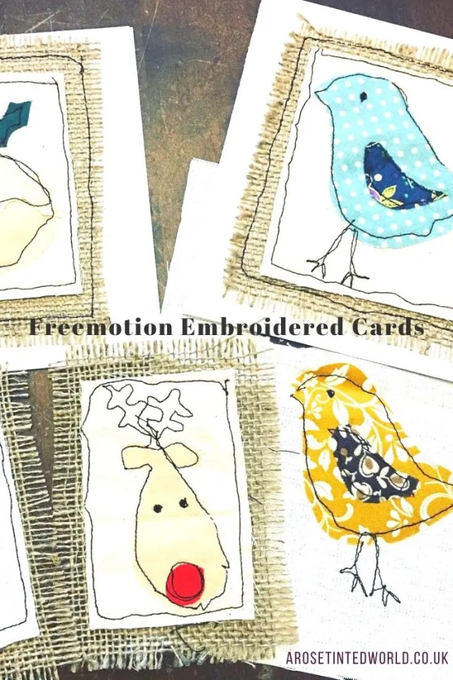 Freemotion embroidered cards - Sewing Projects That You Can Sell - make money from what you sew with these ideas for brilliant & sellable DIY items. Links to Full step by step tutorials for each. #sewing #sewingtosell #sewingprojects #sellinghandmade #craftfairs #craftfairideas #sewingcrafts