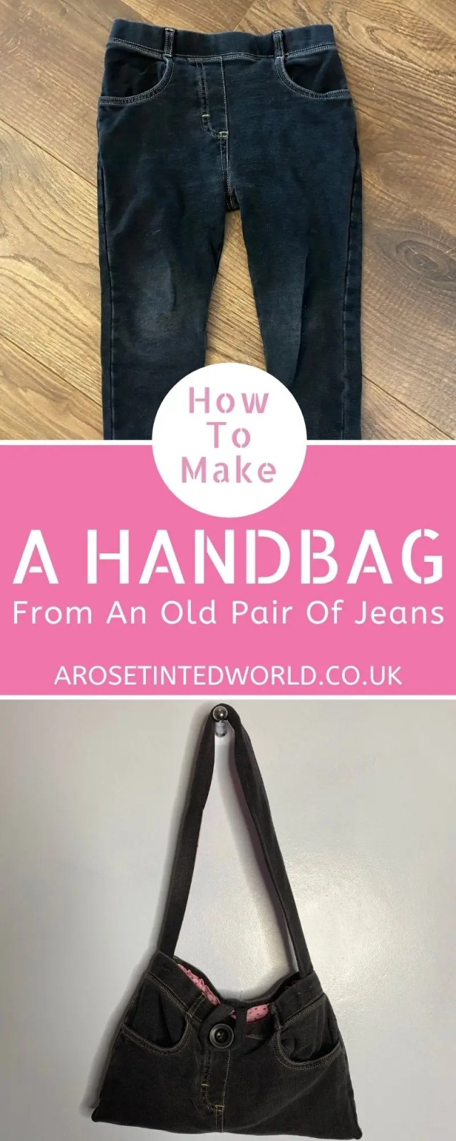 Upcycling jeans to make a handbag - great DIY upcycling project. Full Step by Step sewing tutorial, perfect for beginners. Reuse old clothes.