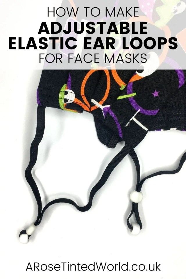 How To Make Adjustable Elastic Ear Loops For Face Masks - a great face mask hack solution to help fit cloth face coverings to all different sizes of faces. Often elastic is too long or too short. This adjusting elastic loop means that your face mask will fit perfectly. No more chafing and cutting elastic behind the ears. Fully adjusts to fit anyone. #facemasks #facemaskelastic #facemaskhack #facemaskdiy