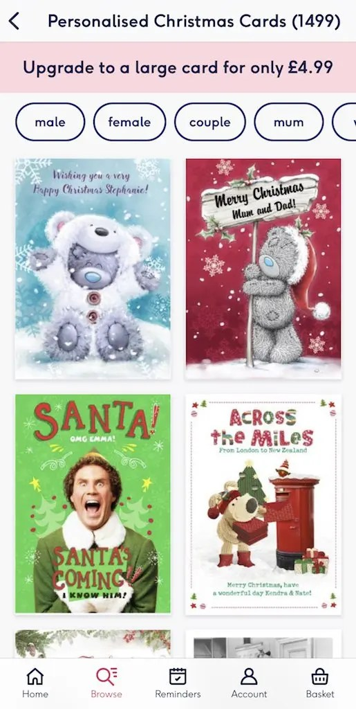 Moonpig Christmas Cards