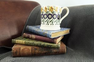 Cosy corner with books and tea