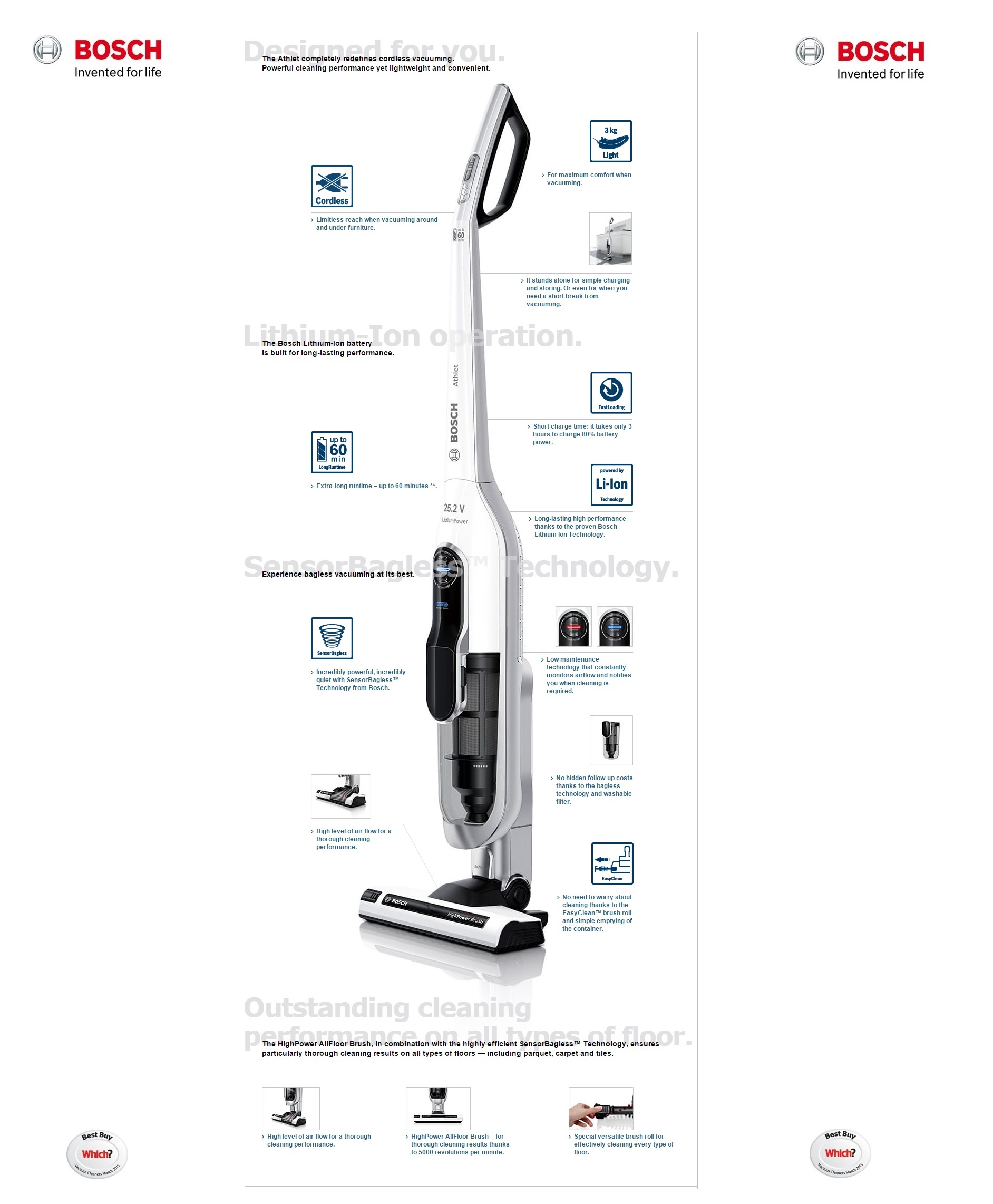 Bosch Athlet Cordless Bagless Upright Vacuum Cleaner