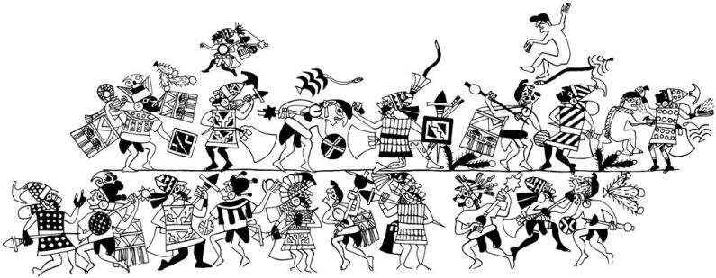 Guerreros mochicas y foráneos Dibujo que representa un enfrentamiento entre guerreros mochicas y guerreros foráneos. Se pueden diferenciar los atuendos, las armas e incluso la forma de pelear. Dibujo: Christopher B. Donnan and Donna McClelland Moche Archive, Trustees for Harvard University, Washington D.C. / MALI