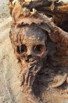 Un niño parece sostener una mano en la boca mientras los restos de una llama le rodean el cráneo. FOTOGRAFÍA DE GABRIEL PRIETO