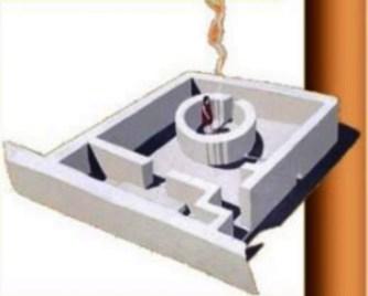 Funcionamiento: Un conducto de ventilacion corre por debajo del piso y conecta el exterior del recinto con el interior del pozo alimentando de oxigeno la flama producto de dicha incineracion. Es comun que el piso de este ambiente presente dos niveles, uno mas alto, que corre pegado a los muros y otro nivel mas bajo, al centro, donde se ubica el pozo de las incineraciones. A la pequeña habitacion circular del fogon solo tendria permiso (y espacio) para acceder una persona, la encargada de realizar las incineraciones como parte de una ceremonia de tributo o pago por algun favor solicitado a los dioses.