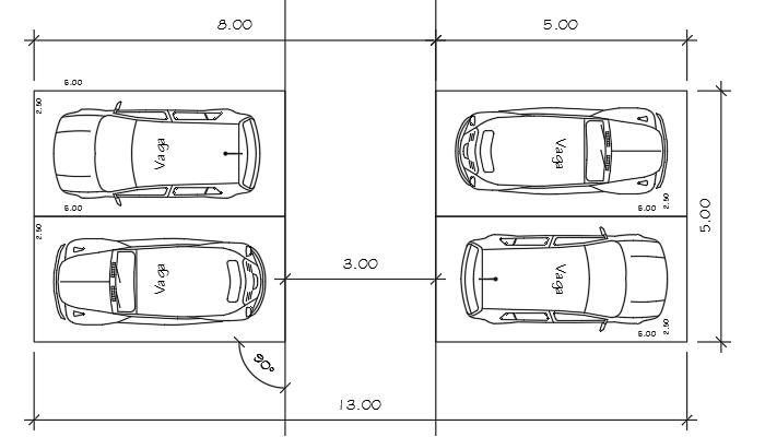 Cad bloco din mico vaga de carro e estudo de vagas for Medidas de un carro arquitectura