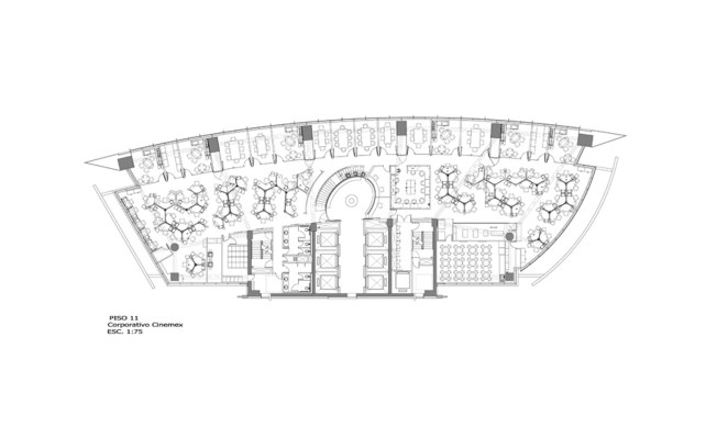 Oficinas Corporativas Cinemex - Art Arquitectos / Planta Arquitectonica