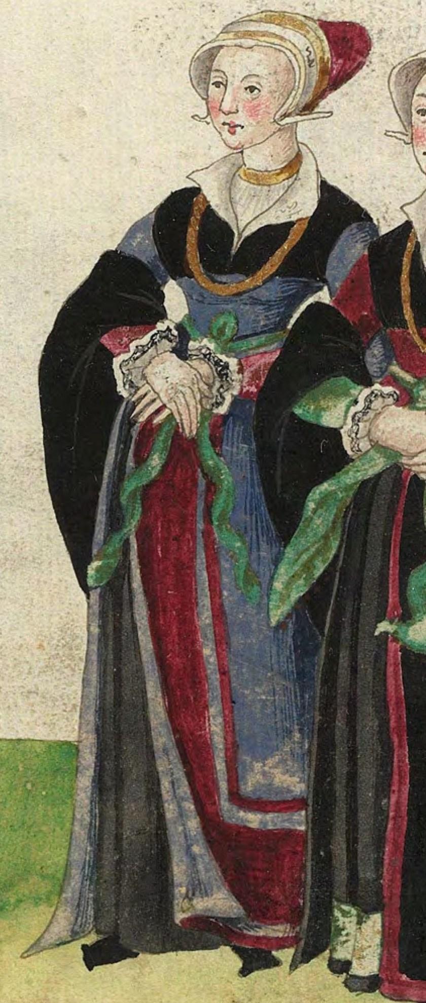 1540s Gelders nobility. Fig. 2, plate 33r, Codice de trajes, Christoph Weiditz. BNE: bdh0000052132