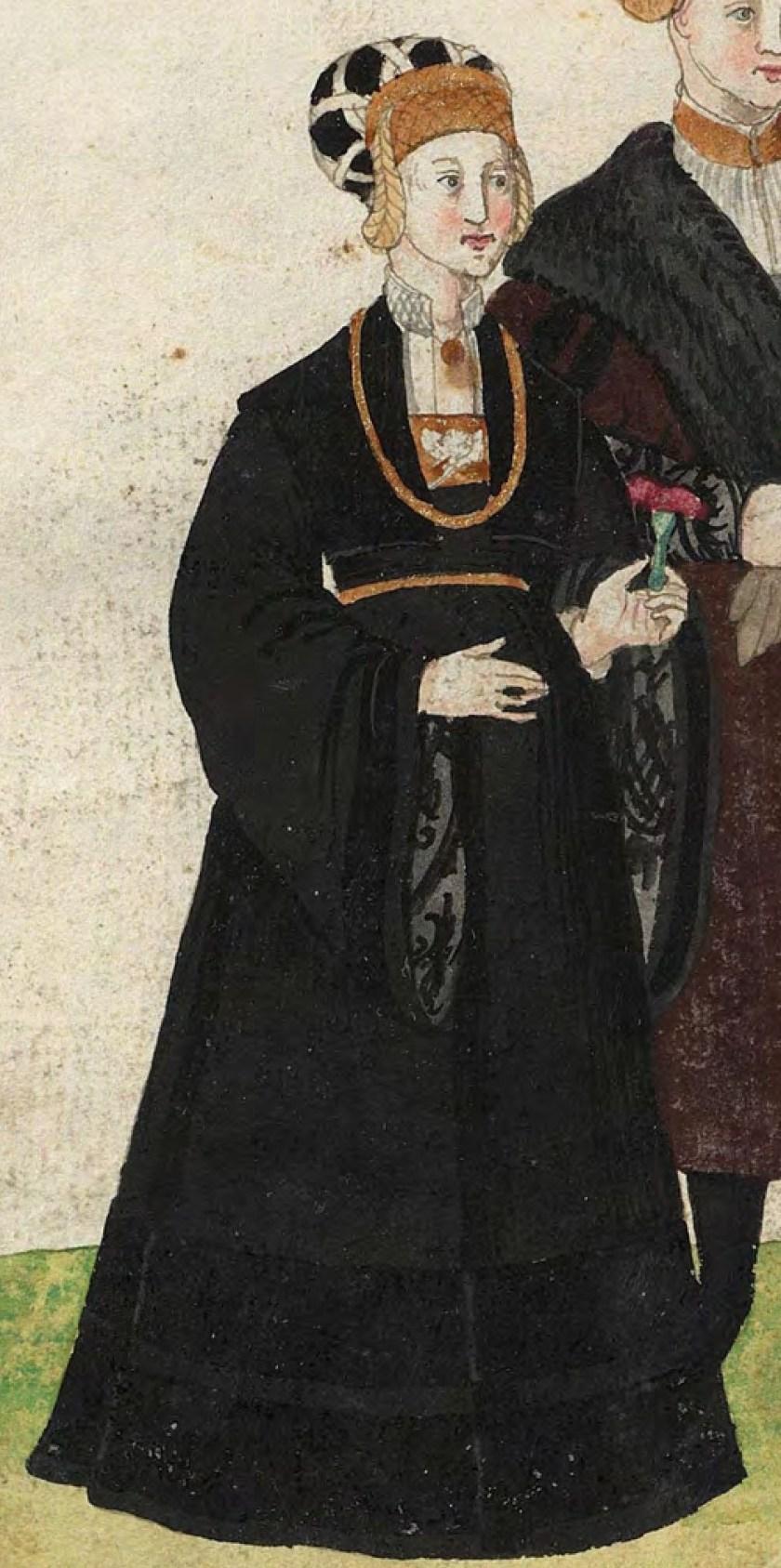 1540s Cologne Burger. Fig. 1, plate 43v, Codice de trajes, Christoph Weiditz. BNE bdh0000052132