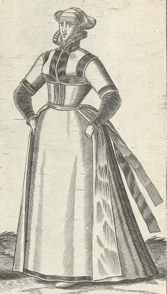 1581 Cleves, unmarried woman. Fig. 3, page 17, Omnium pene Europae, Asiae, Aphricae, Americae gentium habitus [...] de Bruyn. Rijsmuseum BI-1895-3811
