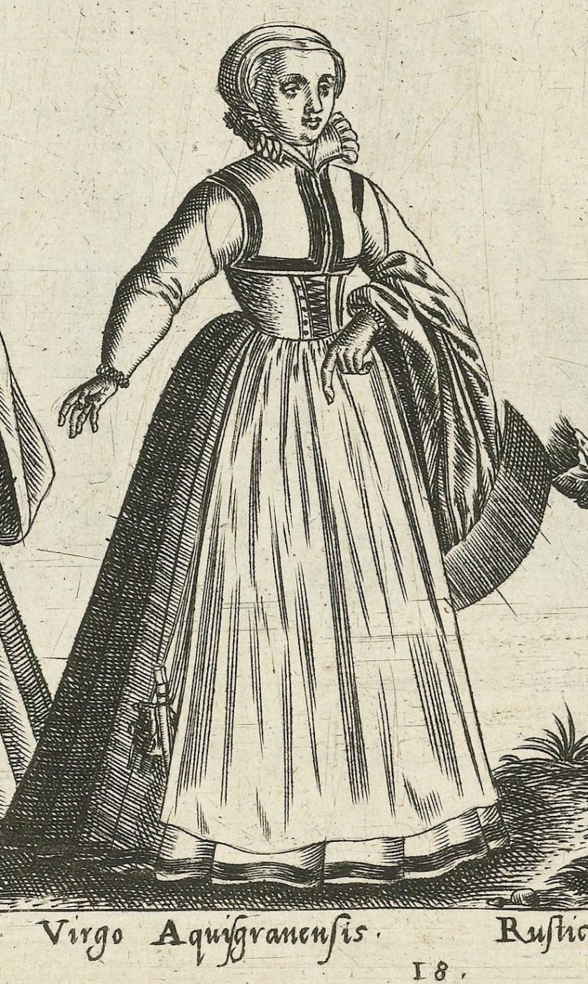 1581 Aachen, unmarried girl. Fig. 9, page 18, Omnium pene Europae, Asiae, Aphricae, Americae gentium habitus [...] de Bruyn. Rijsmuseum BI-1895-3811