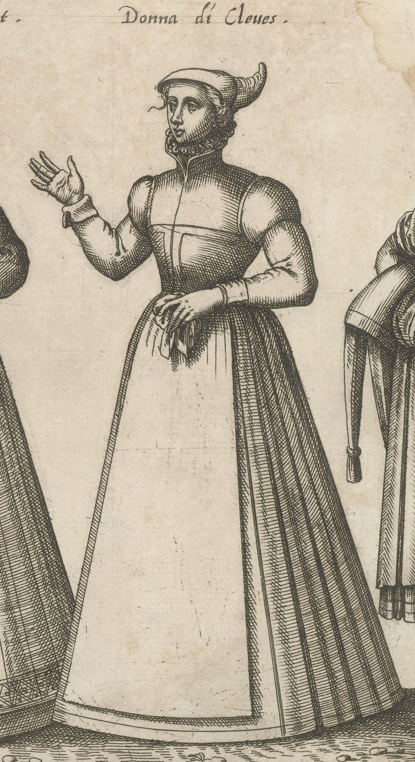 1585 Cleves. Fig 3 page 39, Dei veri ritratti degl'habiti[...] Grassi. Rijksmuseum, BI-1946-264-39