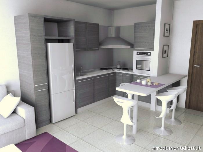 L'immobile dispone di una cantina ed una soffitta ubicata sopra l'appartamento. Cucina Quadra Rovere E Soggiorno Lampo Lucido Diotti A F Arredamenti