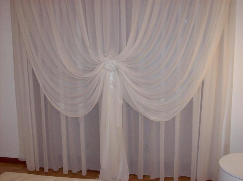 Coppia di tende in cotone ecru' Tende Classiche Doppio Velo Tessuto Pregiato Seta