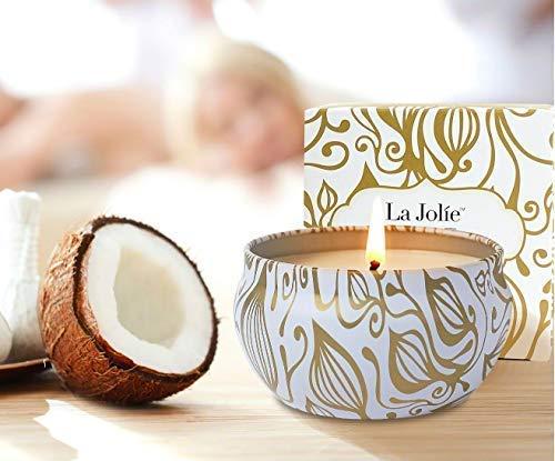Candele profumate Regalo di Natale Vaniglia & Cocco 100% Cera di soia Aromaterapia Tin da Viaggio 45 Ore, Regali per la Festa della Mamma